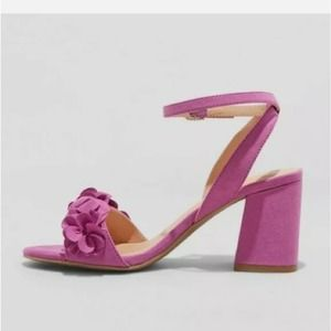 A New Day Orchid Purple Flower Wedge Heels 7.5